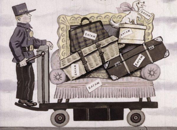 багаж, чемодан, саквояж, корзина, картонка