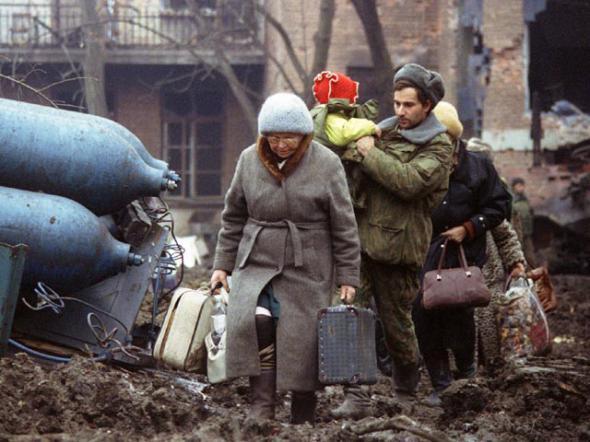русские беженцы,Чечня,чемодан