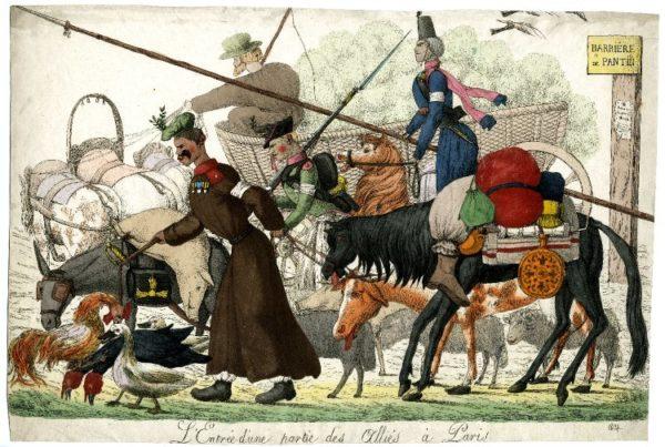 казаки в Париже, военный обоз,карикатура