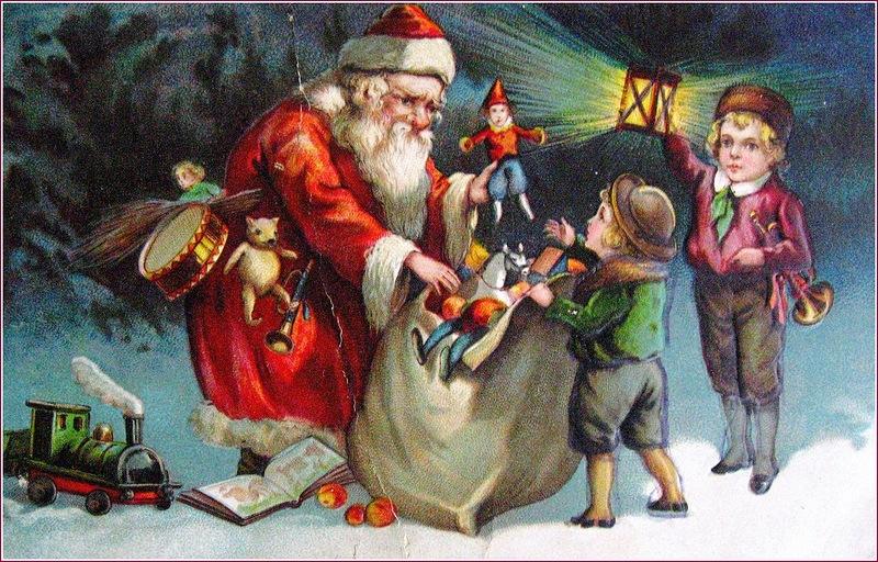 Дед Мороз с мешком подарков и дети,старинная новогодняя открытка