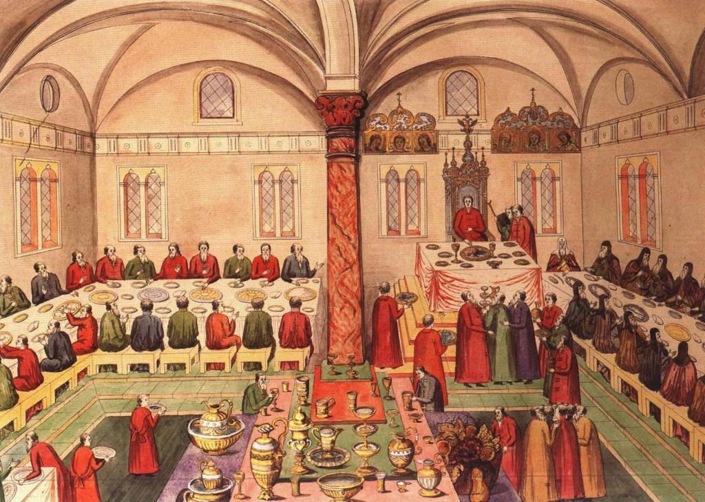 Пир в Грановитой палате по случаю воцарения Михаила Романова в 1613 г. Гравюра XVII в.