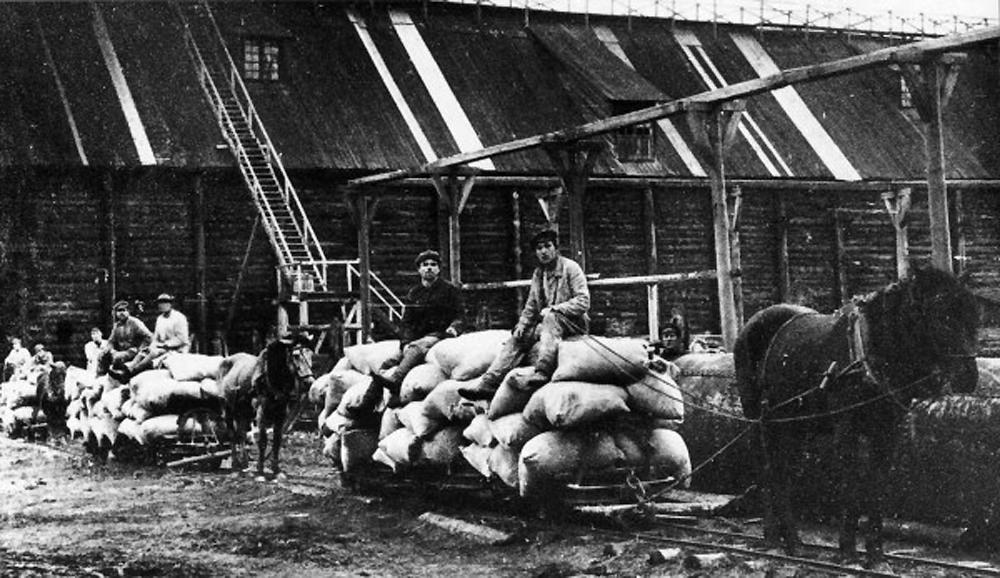 соляной промысел,соль в мешках на телеге