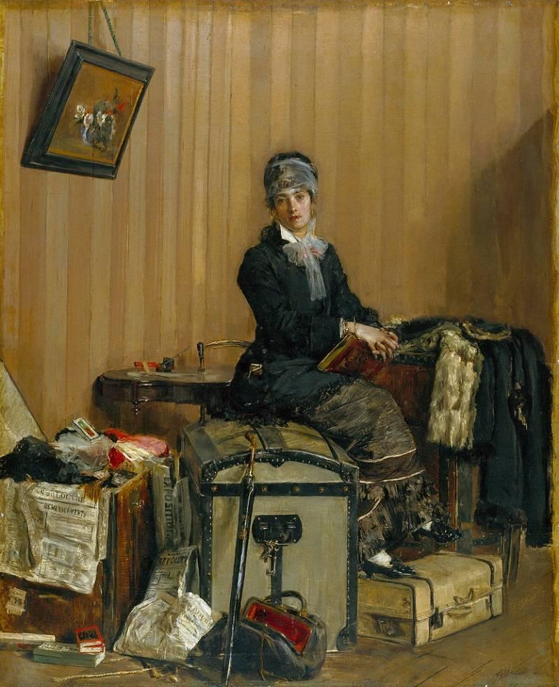 Антонио Манчини,таможня,картина,каретный сундук,чемодан,саквояж