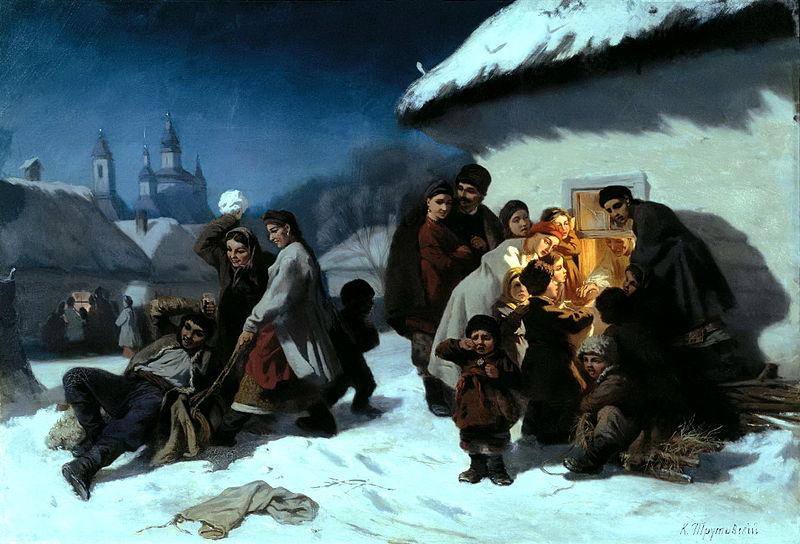 """Картина К. Трутовского """"Колядки в Малороссии"""""""