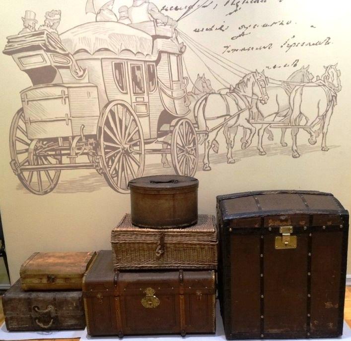 чемодан, шляпная коробка, каретный сундук, корзина