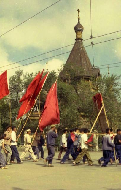 старинное фото праздничной демонстрации