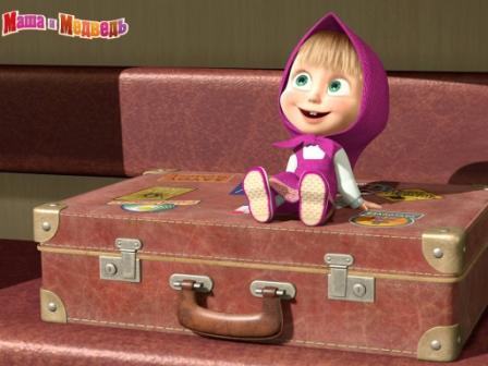 """кадр из мультфильма """"Маша и Медведь"""",Маша на чемодане"""