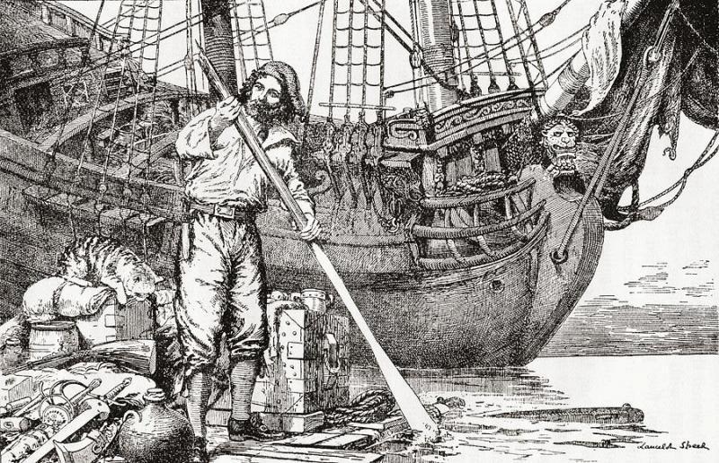 Робинзон Крузо на плоту и корабль,Даниэль Дефо