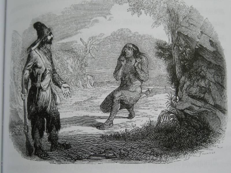 Робинзон Крузо и Пятница, старинная иллюстрация,Жан Гранвиль,Даниэль Дефо