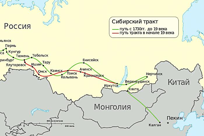 карта-схема Сибирского тракта 18-19 веков