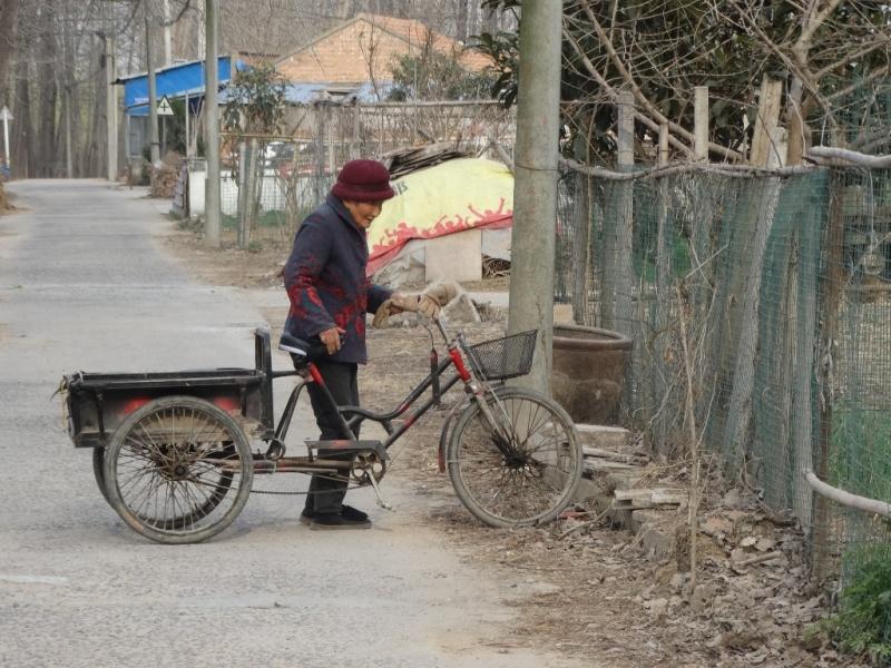 китайская деревня,велосипед-тачка