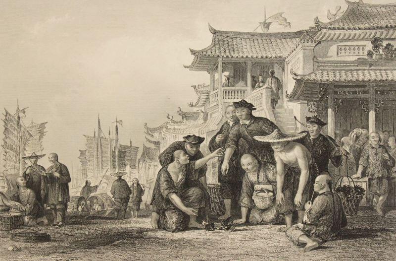 старинный рисунок,корзина,Джонка, Китай,китайская лодка