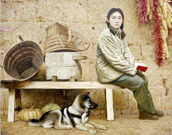 Лю Вэньчан Китай, девушка,собака