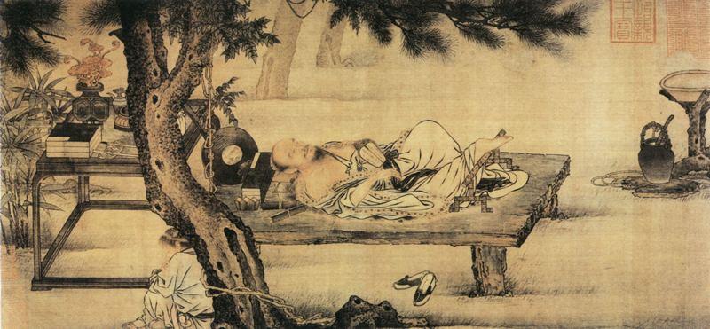 старинный китайский рисунок,сон