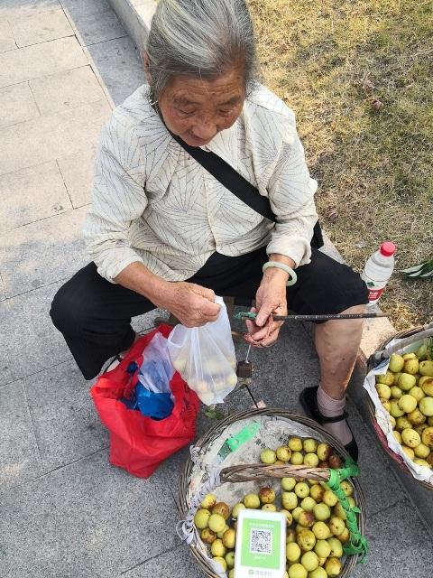 бабушка торгует яблоками QR-код