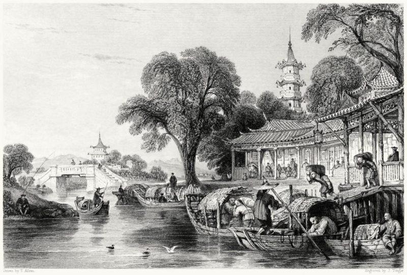 Джонка старинная китайская картинка