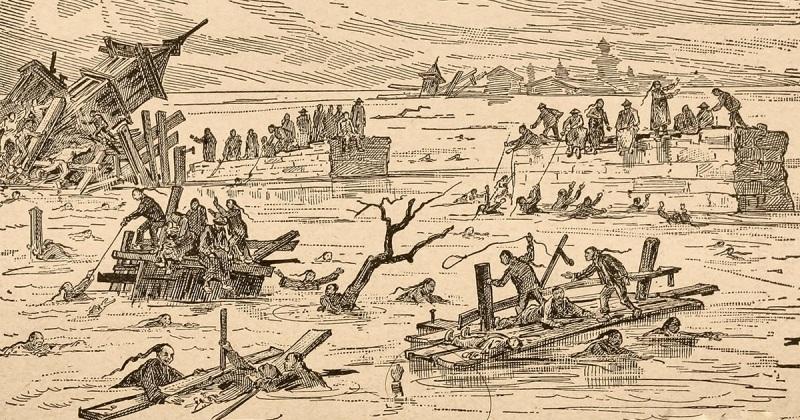 старинный китайский рисунок наводнение гравюра
