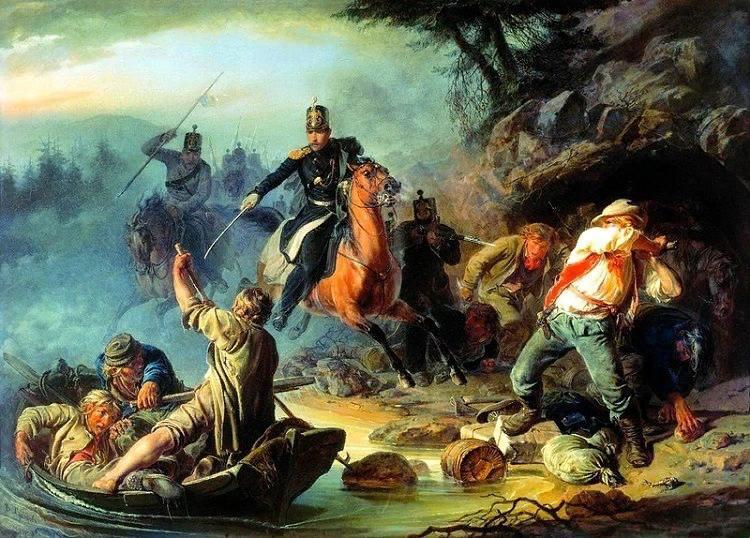 В.Г.Худяков «Стычка с финляндскими контрабандистами»,Третьяковка,картина