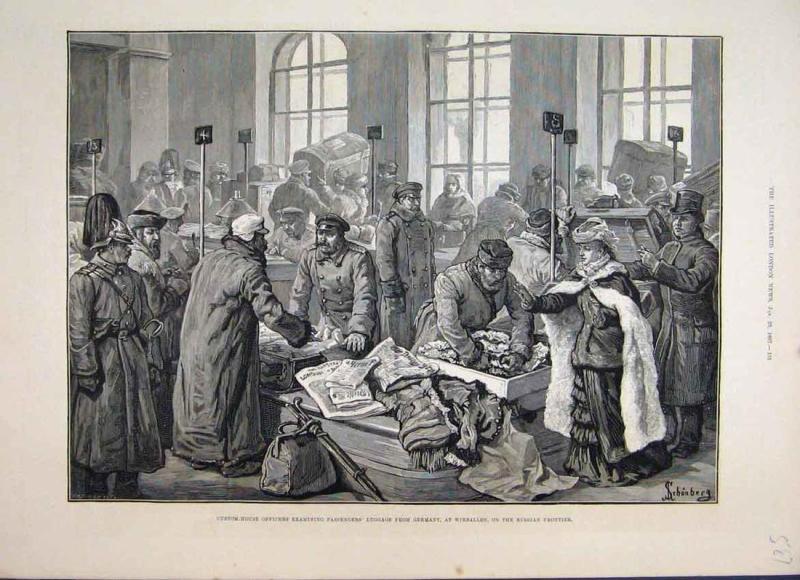Таможенный досмотр на станции Wirballen (Вержболово), иллюстрация,The Illustrated London News, 29th January 1887