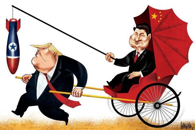 Карикатура, Дональд Трамп рикша Си Цзиньпин